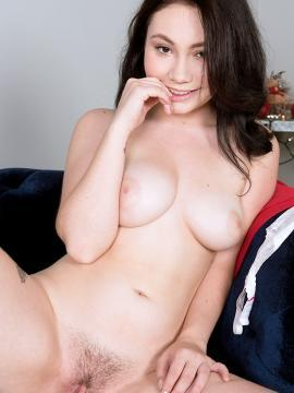 Busty girl Lenna Lux strips down to her socks