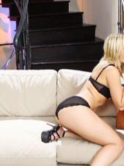 Alexis Texas and Audrey Bitoni get each other off on the couch