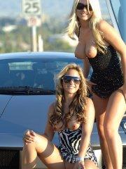 Pictures of 2 hot teens and a hot car