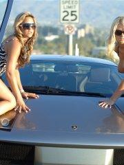 Pictures of Alison Angel and Lia 19 showing off with a sports car