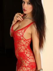 Sultry babe Erika G teases in her skimpy red net dress