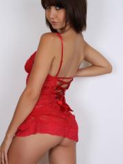 Pictures of Chrissy Marie teasing in a red dress