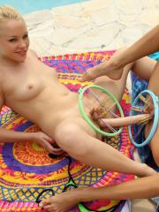 Gina Gerson and Lola Taylor get naughty with each other by the pool