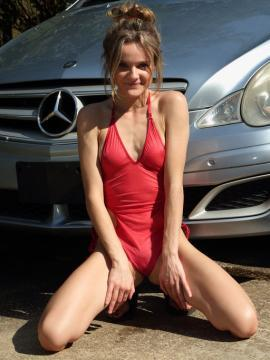 addee-kate brunette  swimsuit non-nude car outdoors