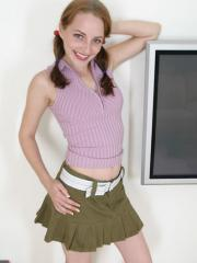 Pictures of cute redhead teen Tabetha sucking cock in pigtails