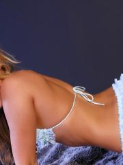 Pictures of Sarah Peachez ready for you in blue lace lingerie