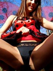 Pictures of Andi looking like the prettiest ladybug ever