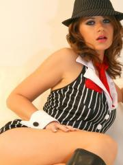 Ann Angel dresses up as a sexy gangster and invites you to join her