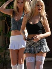 Ann and Lacey dress up as naughty schoolgirls and go on a joy ride