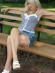 Blonde teen Ann Angel shows you what's up her jean skirt