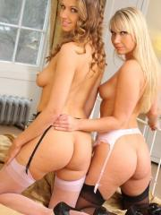 Eufrat and her hot blonde friend strip in their lingerie