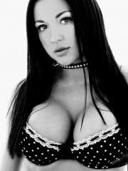 Pictures of Audrey Bitoni showing her pussy in black and white