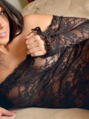 Beautiful girl Bailey Knox teases in her black lace dress