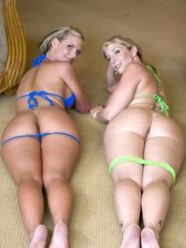 Blonde babes Phoenix and Sara bounce their booties on top of a lucky cock