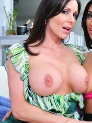 Kendra Lust and Amber Cox get together to share a very luck cock