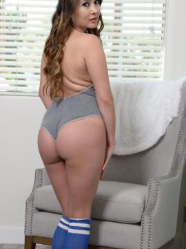 Bliss Dulce teases in her blue socks and grey leotard