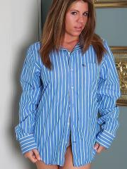 Pictures of Blueyed Cass looking sexy in your striped shirt the next morning