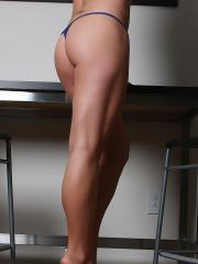 Pictures of Blueyed Cass showing off in a blue teddy and heels