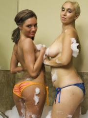 Briana Lee gets all hot and soapy with her girlfriends
