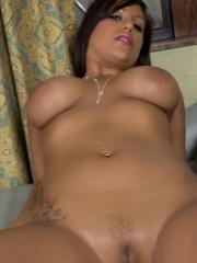 Busty hottie Briana Lee plays with both of her tight pleasure holes