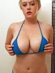 Brook strips out of her blue bikini and gets messy