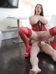 Gorgeous Busty Buffy gets a massive cumshot on her tits