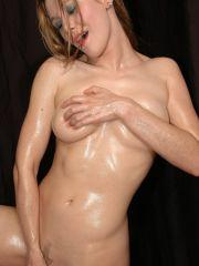 Pictures of Callista getting all oiled up in cutoff shorts
