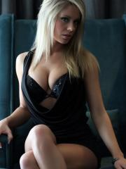 Stunning blonde girl Taylor Faye strips for you in a chair