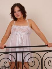 Pregnant Candy looks hot in white lace lingerie