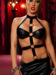 Capri Cavalli dresses in kinky dominatrix leather and awaits you
