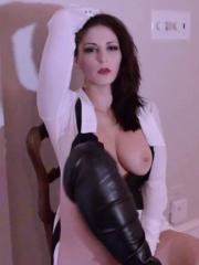 Screencaps of Carlotta Champagne dancing and teasing in her skirt and boots