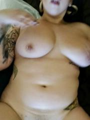 Chubby big titty girlfriend shows off her big round ass and huge boobs