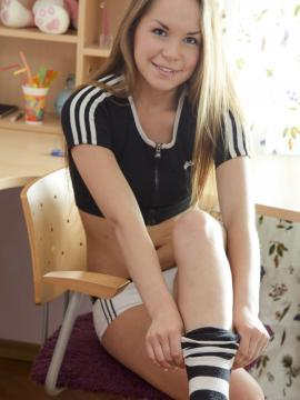 Blonde teen fucked in striped socks