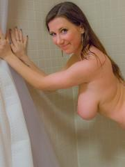 Busty brunette Cherry wants to take a shower with you