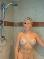 Busty blonde KJ Stone wants to take a shower with you