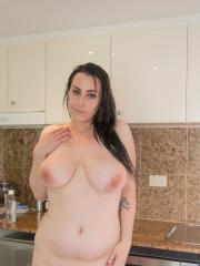 Busty hottie Chloe gets wet for you in the kitchen