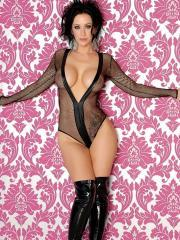 Busty hottie Jayden Jaymes teases in sheer lingerie and boots