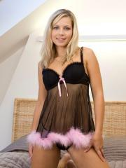 Blonde babe Jenni Gregg strips out of her lingerie