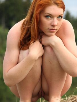 Redhead farmers daughter gets naked in the country