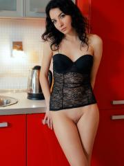 Stunning girl Caddy A gives you her hot pussy over a cup of tea