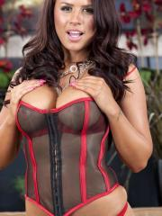Pictures of Eva Angelina stripping out of her lingerie