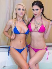 Alix Lynx and Jessica Jaymes give an amazing pov blowjob in their bikinis