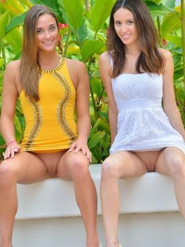 Stunning college coeds Mary and Aubrey want to show you what's up their skirts