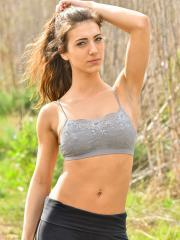 Naughty coed Ruby gets naked while exercising