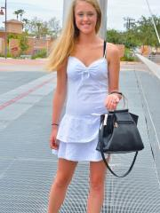 """Blonde hottie Victoria lifts her dress and masturbates outside in """"That Cute Blonde"""""""