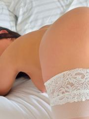 Beautiful girl Cecilia masturbates in her white stockings