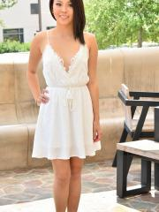 Kaia strips out of her white dress for you in Outdoor Series I
