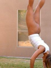 Pictures of Courtney Simpson doing some kinky gymnastics