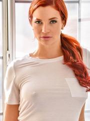 Redhead hottie Jayden Cole fondles her pussy at home