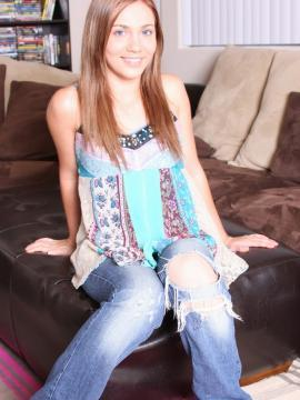 Hot college girl Dakoda stripping out of her jeans at home
